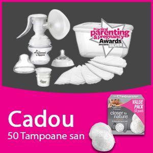 Tommee Tippee - Pompa de san manuala  Cadou tampoane pentru san