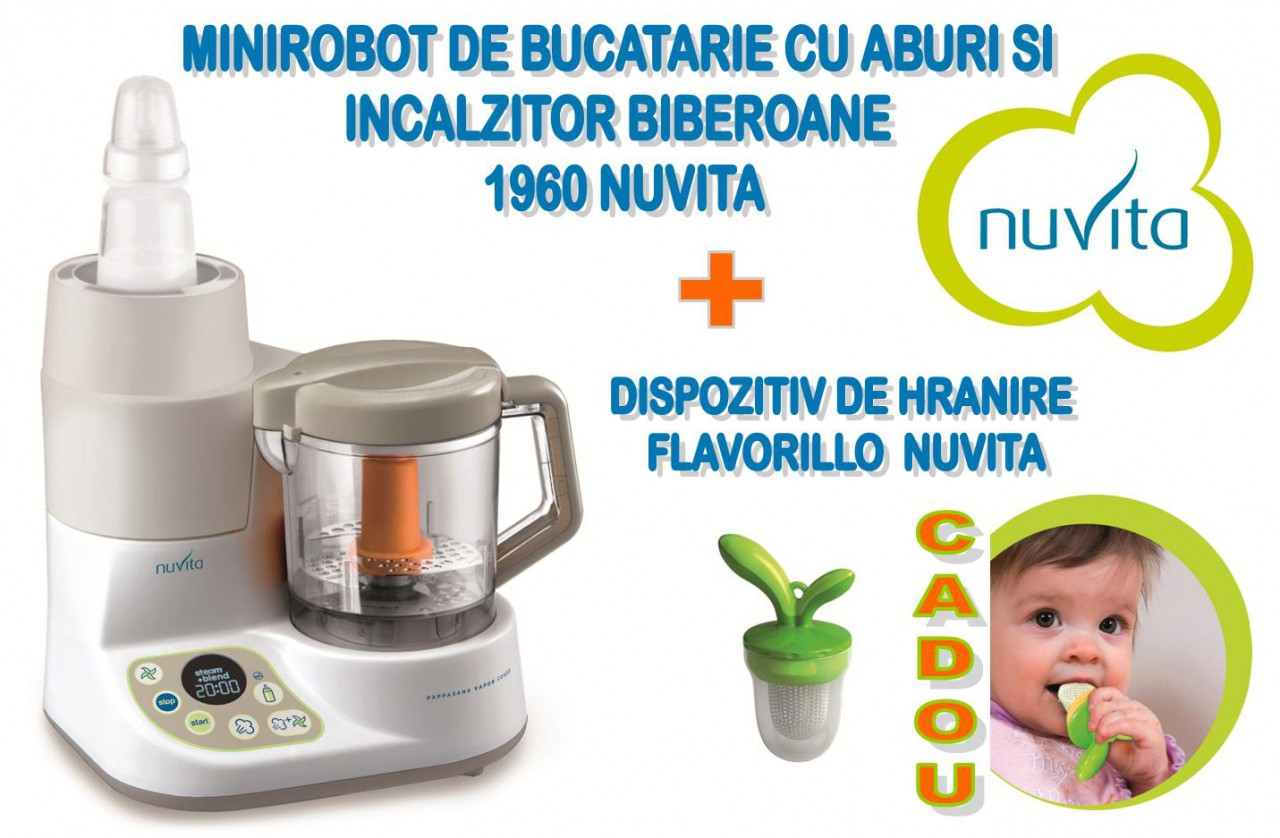 Nuvita - Minirobot de bucatarie  Cadou dispozitiv de hranire Flavorillo