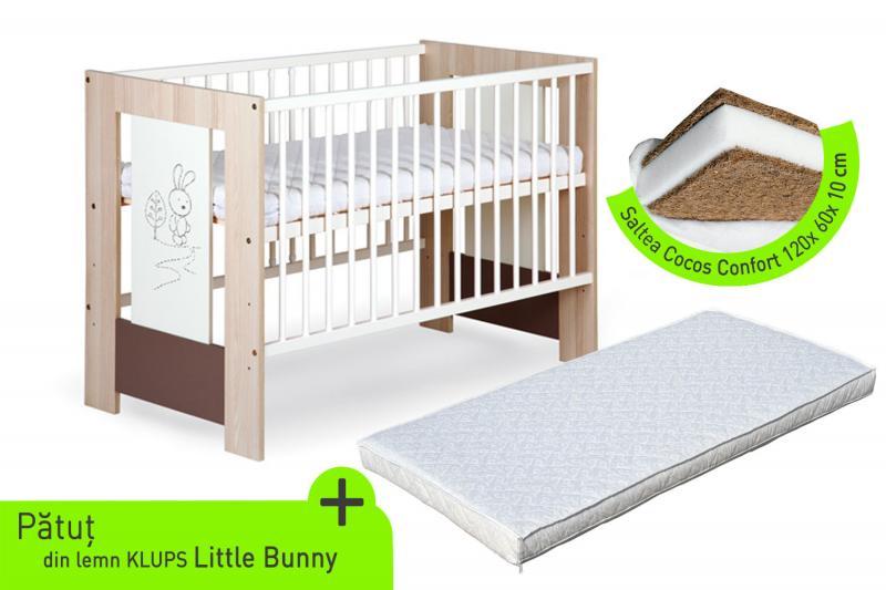 Klups - Patut lemn Little Bunny + Saltea cocos