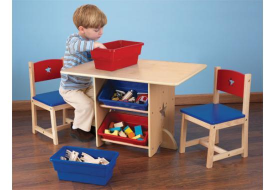 Kid Kraft - Set 2 scaune si masa cu lazi depozitare Star