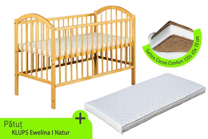 Klups - Patut lemn Ewelina I natur + Saltea cocos