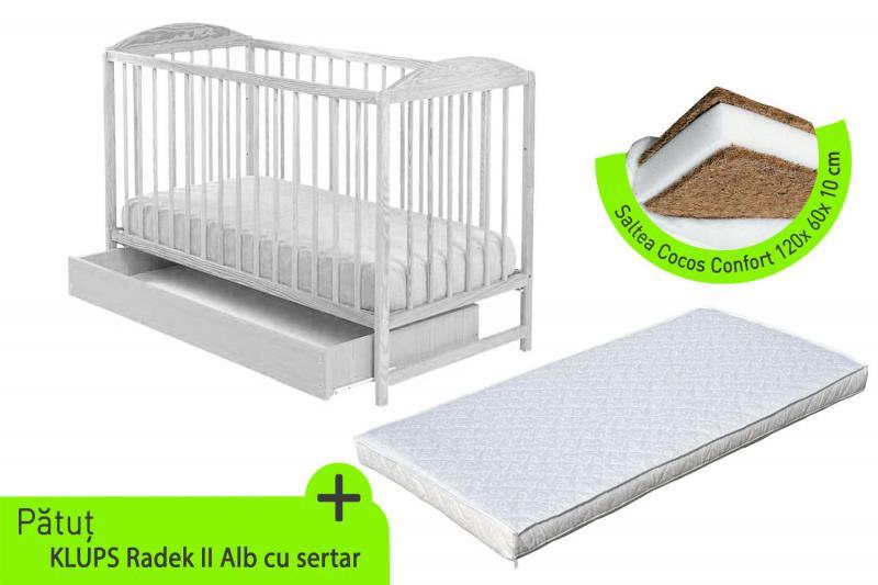 Klups - Patut lemn Radek II cu sertar alb + Saltea cocos