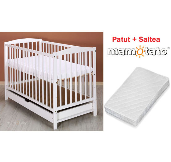 Mamo Tato - Patut din lemn Maja Alb + Saltea Cocos