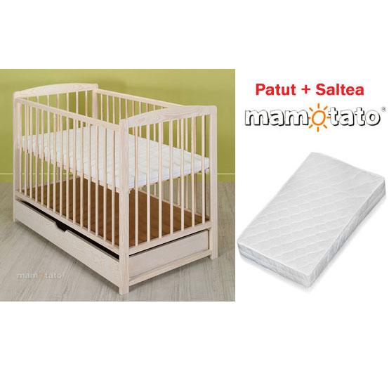 Mamo Tato - Patut din lemn Maja Beige + Saltea Cocos