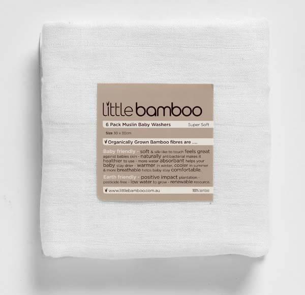 Little Bamboo - Muselina din bambus organic Baby Wash - 6 buc 3030 cm