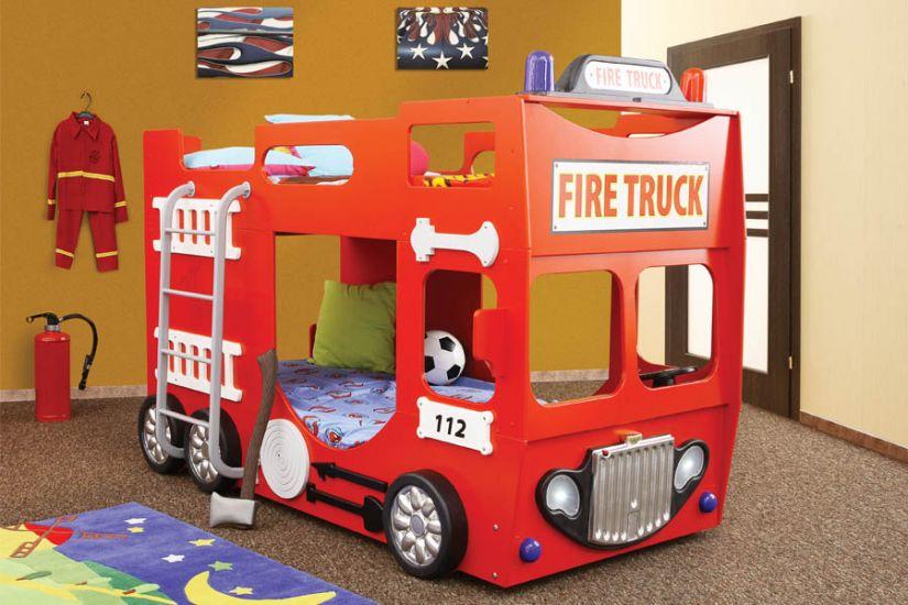 Plastiko - Patut dublu pentru copii Fire Truck