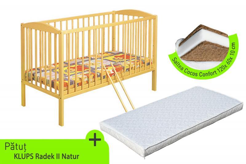 Klups - Patut lemn Radek II + Saltea cocos