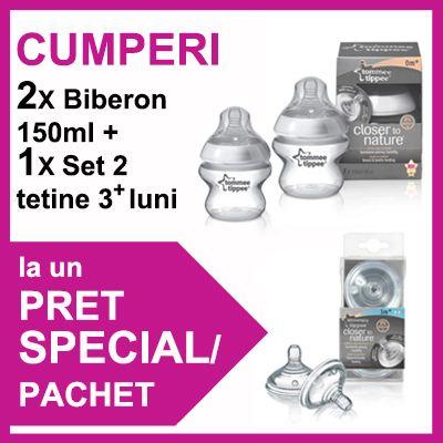 Tommee Tippee - 2 x Biberoane 150 ml  Set 2 Tetine PROMO