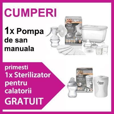 Tommee Tippee - Pompa manuala  Cadou sterilizator calatorii