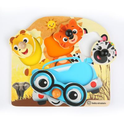 Baby Einstein - Jucarie de lemn puzzle Hape Friendly Safari Faces