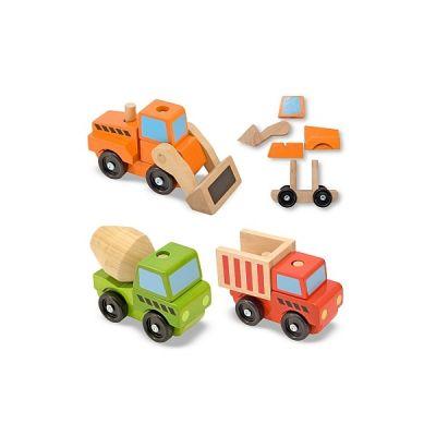 Melissa&Doug - Vehicule utilitare pentru constructii din lemn