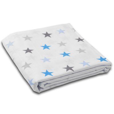 Muselina multifunctionala XXL 120x120 cm Kidizi Blue Stars, 100% bumbac