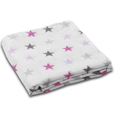 Muselina multifunctionala XXL 120x120 cm Kidizi Pink Stars, 100% bumbac