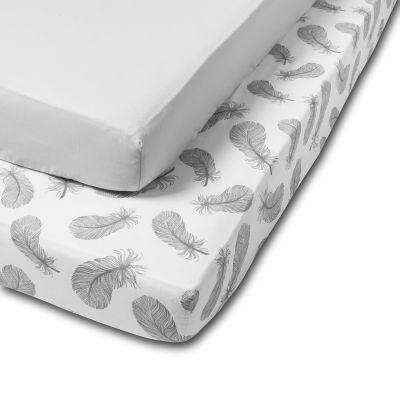 Set 2 cearceafuri din bumbac cu elastic  roata pentru patut 120x60 cm Kidizi All Grey Feathers