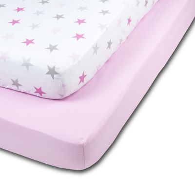 Set 2 cearceafuri din bumbac cu elastic  roata pentru patut 140x70 cm Kidizi Pink Stars