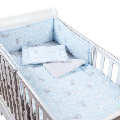 Set lenjerie 4 piese din bumbac Kidizi Blue Bunny, perna bebelus, plapumioara, aparatoare si cearceaf