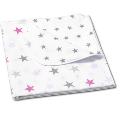 Paturica dubla din bumbac si flanel 100x75 cm Kidizi Pink Stars, 100% bumbac