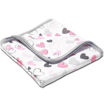 Paturica dubla de muselina XXL 120x120 cm Kidizi Pink Hearts, 100% bumbac