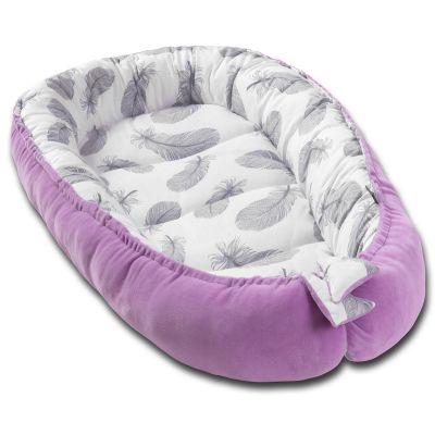 Cosulet bebe Kidizi Baby Nest Cocoon velvet 90x50 cm Purple Feathers, husa interior 100% bumbac