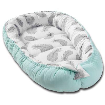 Cosulet bebelus pentru dormit Kidizi Baby Nest Cocoon 90x50 cm Mint Feathers