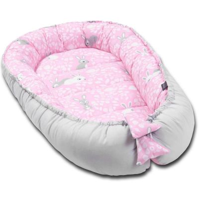 Cosulet bebelus pentru dormit Kidizi Baby Nest Cocoon XXL 110x70 cm Sweet Bunny Grey