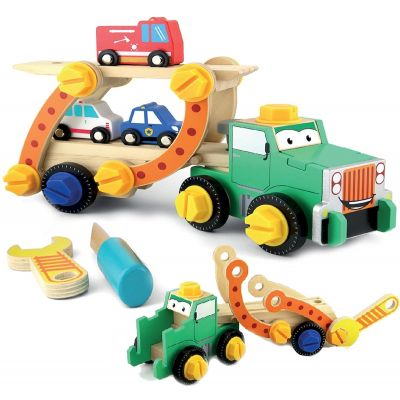 Camion transportor demontabil din lemn Smily Play