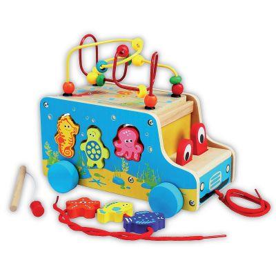 Masinuta din lemn cu activitati 5 in 1 Smily Play