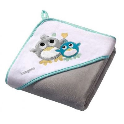Prosop bebe cu gluga 100 X 100 cm Baby Ono Birds gri, 100% bumbac