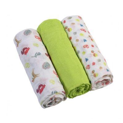 Set 3 scutece textile din muselina 70x70 cm Baby Ono verde, 100% bumbac