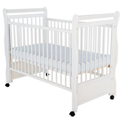 Baby Needs - Patut din lemn Jas 120x60 cm cu laterala culisanta Alb + Saltea 9 cm