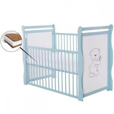 BabyNeeds - Patut din lemn Jas Ursulet 120x60 cm cu laterala culisanta Mint + Saltea 10 cm