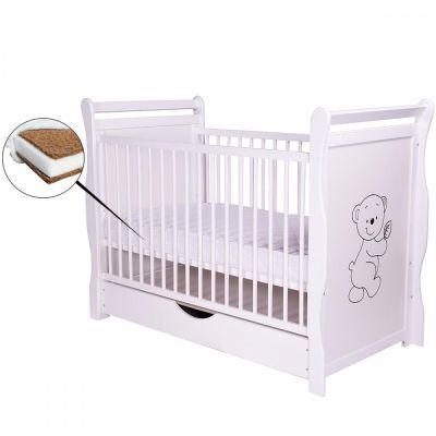 BabyNeeds - Patut din lemn Jas Ursulet 120x60 cm cu sertar + Saltea