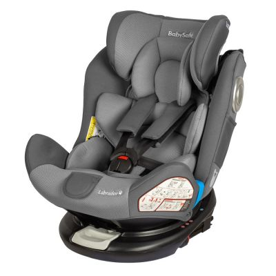 Babysafe - Scaun auto rotativ cu Isofix 0-36 kg Labrador Grey, rear-facing prelungit