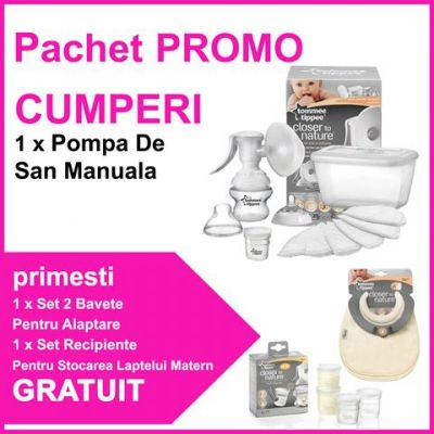 Tommee Tippee - Pompa san manuala + Bavete + Recipiente