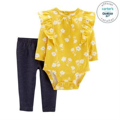 Set 2 piese body floral si pantaloni lungi simpli Carters