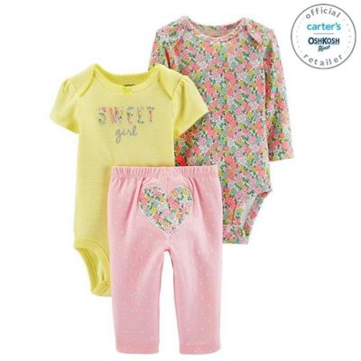 Set 3 piese 2 body Si pantaloni cu design floral Carters