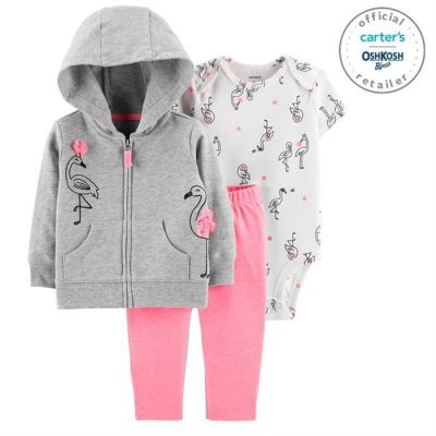 Set 3 Piese Flamingo hanorac, body & pantaloni Carters