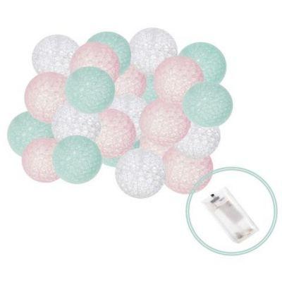 Ghirlanda luminoasa cu 20 globuri textile cu led Springos roz/turcoaz