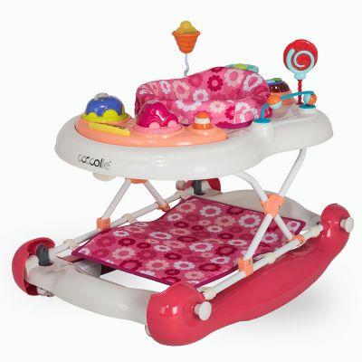Coccolle - Premergator cu sezut rotativ si balansoar Inizio roz