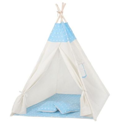 Cort copii stil indian Teepee Springos Blue Stars XXL