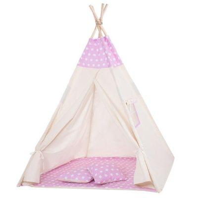 Cort copii stil indian Teepee Springos Pink Dots XXL