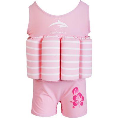 Konfidence - Costum inot copii cu sistem de flotabilitate ajustabil pink stripe