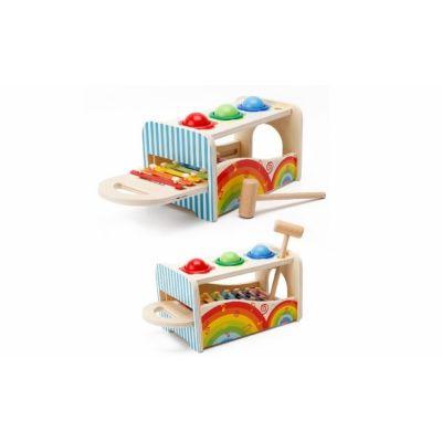 Jucarie lemn educativa tip Montessori, xilofon si ciocan cu bile
