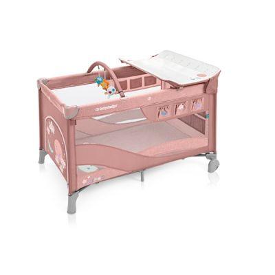 Patut pliabil cu 2 nivele Baby Design Dream Pink