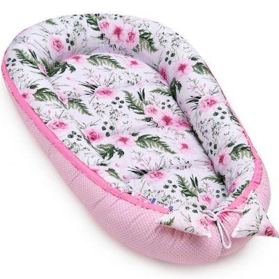 Cosulet bebelus pentru dormit Jukki Baby Nest Cocoon XL 90x50 cm In garden pink