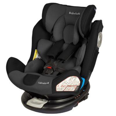 Babysafe - Scaun auto rotativ cu Isofix 0-36 kg Labrador Grey Black, rear-facing prelungit