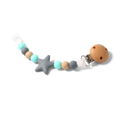 Lant suzeta Baby Ono Grey Star turcoaz