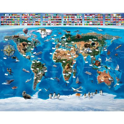 Walltastic - Tapet pentru copii Harta Lumii