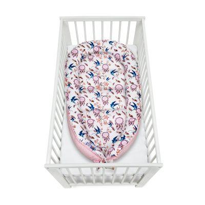 Cosulet bebelus pentru dormit Jukki Baby Nest Cocoon  XXL 120x65 cm Swallows