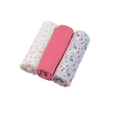 Set 3 scutece textile din muselina 70x70 cm Baby Ono roz, 100% bumbac